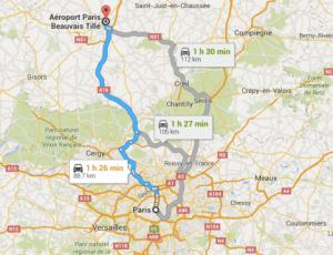 הגעה משדה התעופה בפריז לעיר